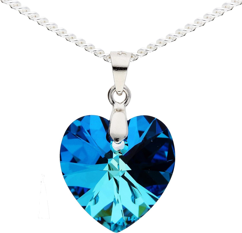 Mya Art Set Bijoux Femme Argent 925/avec pendentif en forme de c/œur Swarovski Elements cristal bleu cha/îne collier boucles doreilles pendantes Kit myasiket de 47