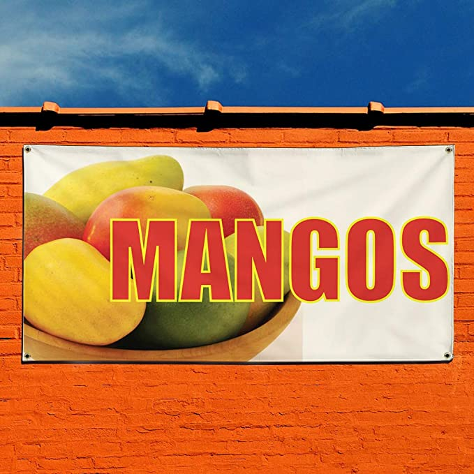 24inx60in Vinyl Banner Sign Mangos #2 Business Fruit Outdoor Marketing Advertising Yellow 4 Grommets Multiple Sizes Available Set of 3
