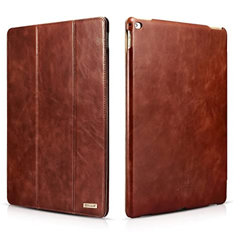 size 40 2888c e4616 iPad Pro Leather Case, Icarercase Vintage Series Genuine Leather Flip Cover  Folio Case Slim Leather Case Stand Function Smart Cover with [Auto Wake/ ...