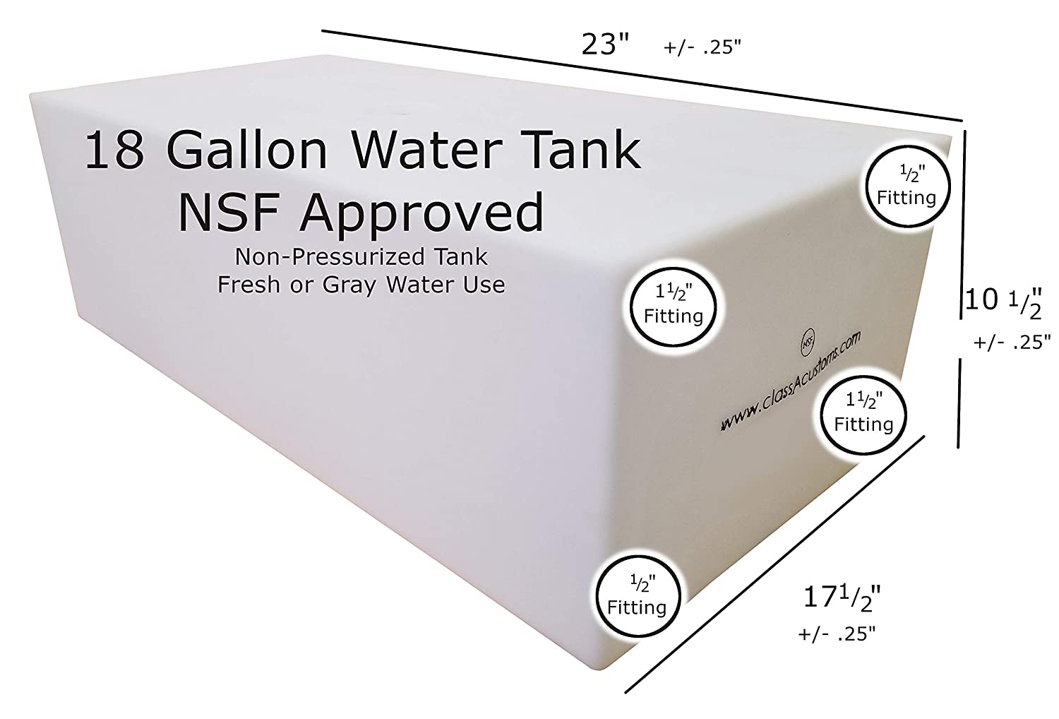 Class A Customs 18 Gallon Fresh or Gray Water Holding Tank NSF//FDA Approved BPA Free with Basic Plumbing Kit rv Concession Trailer T-1800-BPK