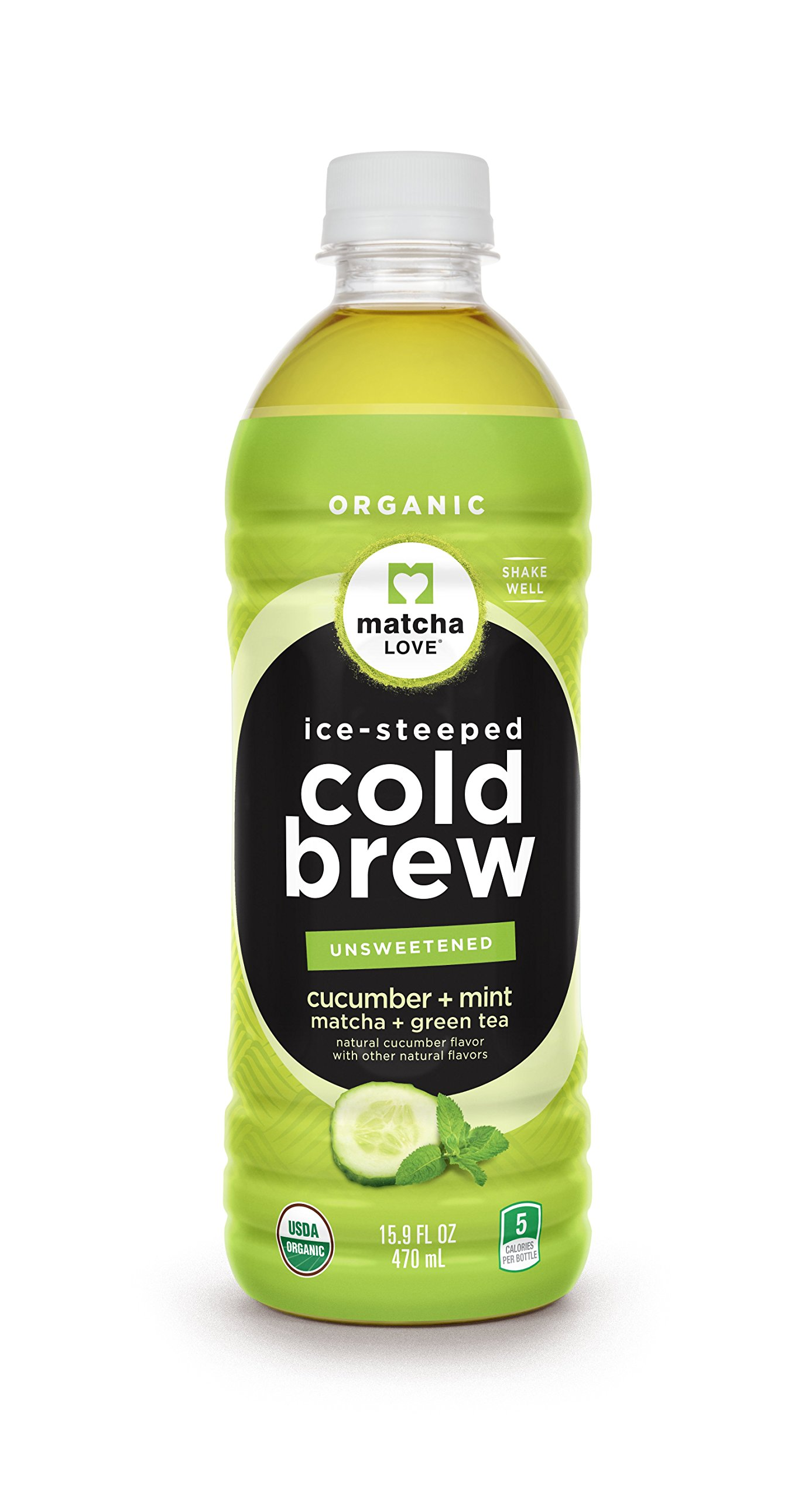 Matcha Love Cold Brew Cucumber Mint Matcha Green Tea 15.9 Ounce bottle 12 Count Unsweetened Green Tea, No Artificial Sweeteners USDA Certified Organic Caffeinated