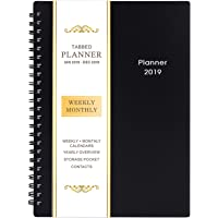"2019 Planner - Weekly & Monthly Planner 2019, Flexible Cover, 12 Monthly Tabs, Twin-Wire Binding with Two-Sided Inner Pocket, 5"" x 8"" - BooQool"