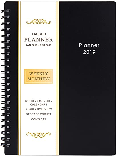 amazon com 2019 planner weekly monthly planner 2019 flexible
