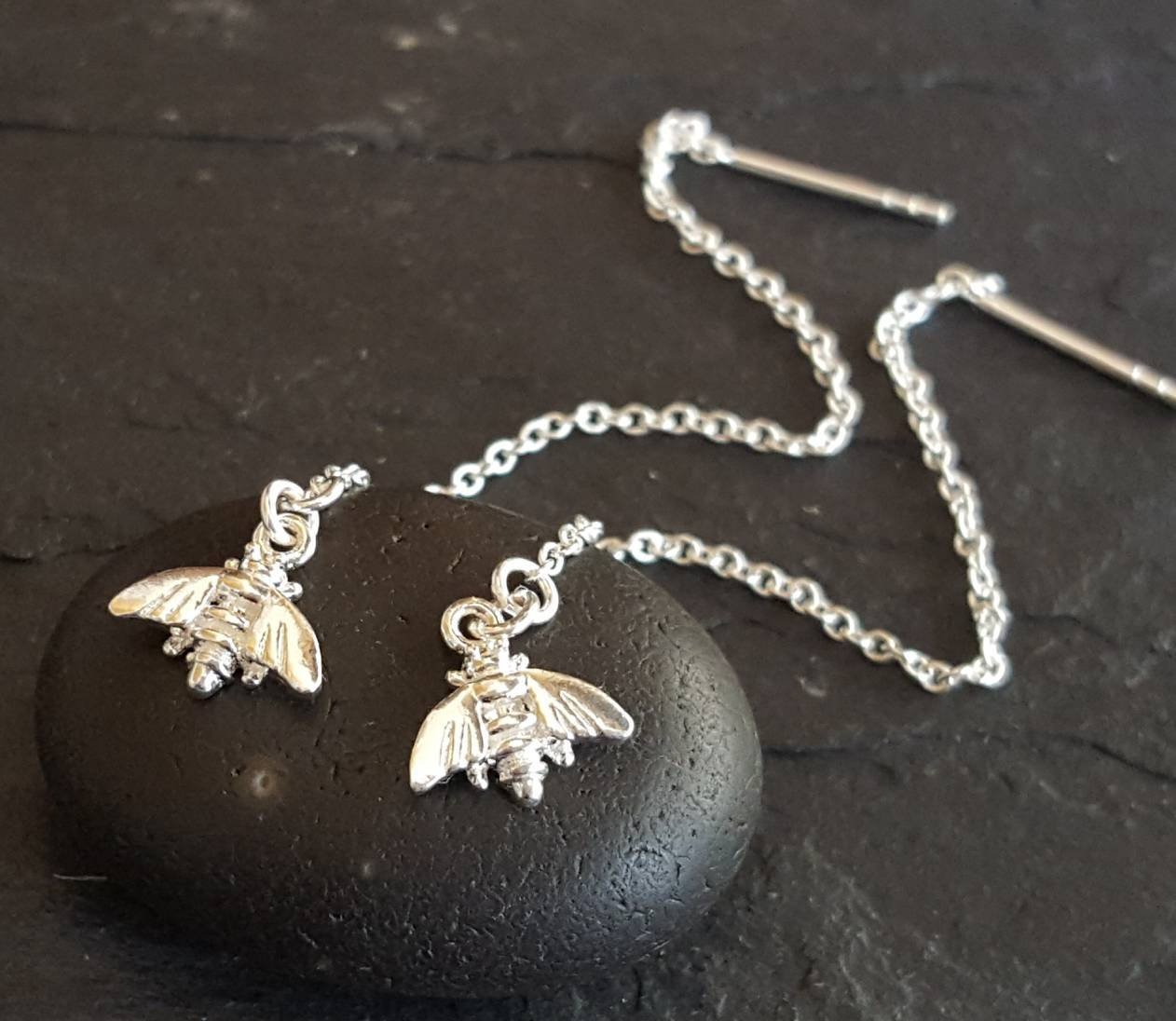 ANTIQUE SILVER BEE EARRINGS ON STERLING SILVER HOOKS FREE GIFT BAG MANCHESTER