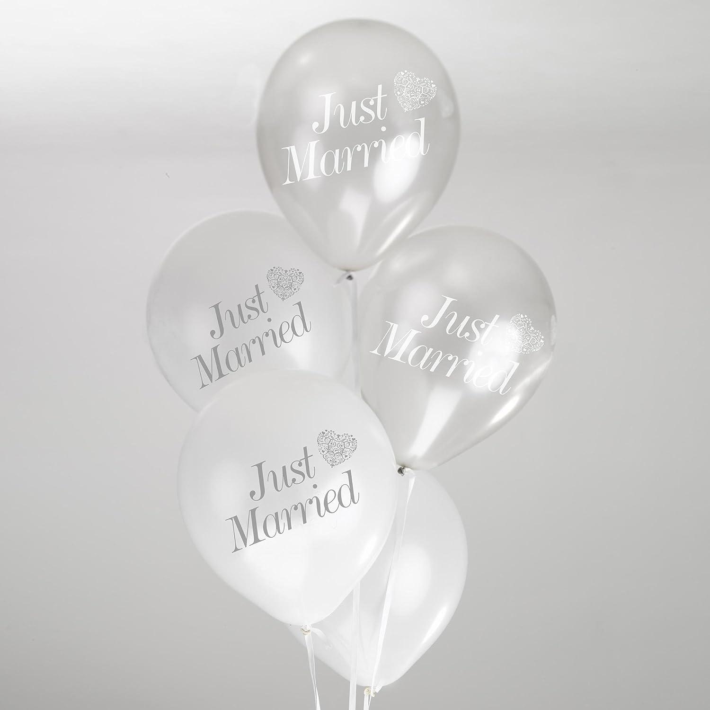 Neviti Vintage Romance Ballons Just Married Wei/ß//Silber