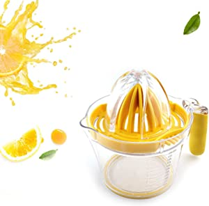 Lemon Squeezer, 600ml Lemon Juicer Cup with Non-Slip Handle, 4 in 1 Multifunctional Orange Juicer with Built-in Measuring Cup and Grater Egg separator, Best Kitchen Accessory