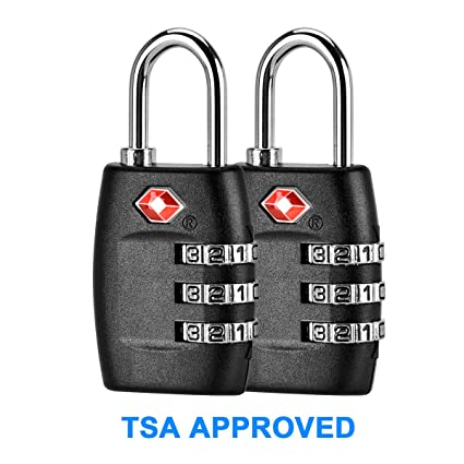 502f7f9af1ba TSA Approved Luggage Locks 2 Pack,Three Digit Combination Padlocks,Travel  Lock for Suitcases & Baggage -Black