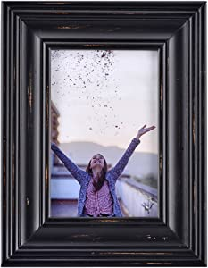 RPJC 4x6 Wlide-Frame Picture Frames Made of Solid Wood High Definition Glass for Table Top Display and Wall Mounting Photo Frame Black