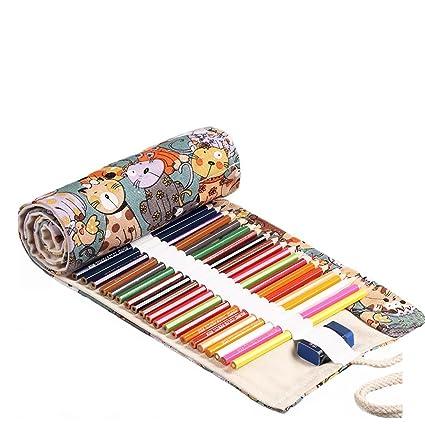 Abaría - Bolsa de lápiz de colores, pequeño estuche enrollable 36 lápices, portalápices de lona, organizador para arte, gato