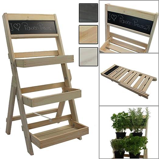 Escalera para flores de madera FSC® 74 x 39 x 40 cm con pizarra - Estantería para flores de madera impregnada resistente a la intemperie y durable, Color:Natural: Amazon.es: Jardín