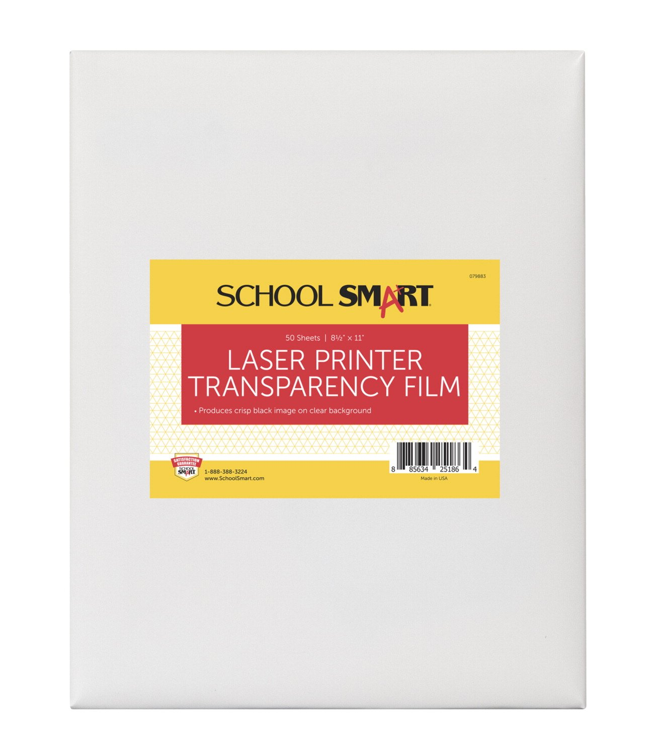 School Smart Laser Transparency Film without Sensing Strip - 8 1/2 x 11 inches - Pack of 50