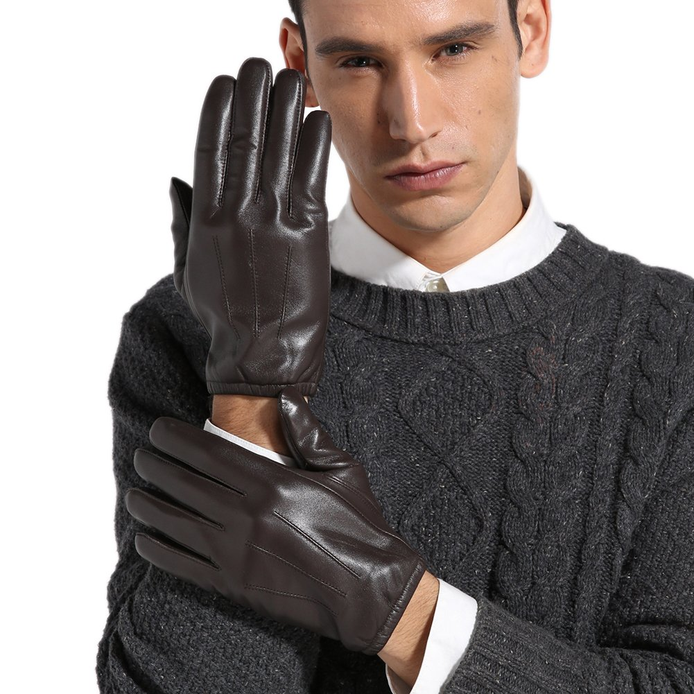 Magelier Men's Genuine Lambskin Nappa Leather Motorcycle Driving Love Couple Gift for Men Lined Gloves,Coffee,US 9