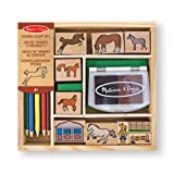 Melissa & Doug Wooden Stamp Activity Set: Horse Stable - 9 Stamps, 5 Coloured Pencils, 2-Colour Stamp Pad