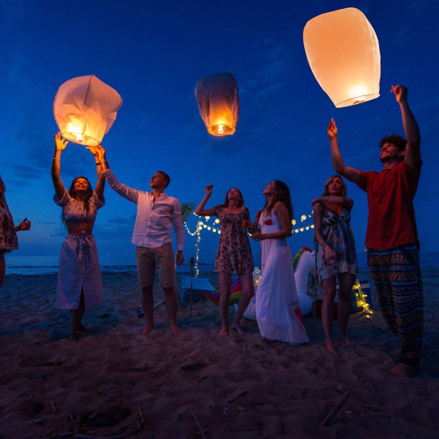 Flying Lanterns Newthinking Sky Lanterns Sky Romantic Paper Lantern for Weddings Eco Friendly with 100/% Biodegradable Wire-Free Fire Resistant Oval Parties and Festivals