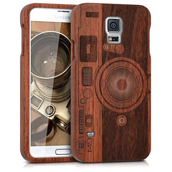 best sneakers f4765 c5281 kwmobile Samsung Galaxy S5 / S5 Neo Wood Case - Non Slip Natural Solid Hard  Wooden Protective Cover for Samsung Galaxy S5 / S5 Neo