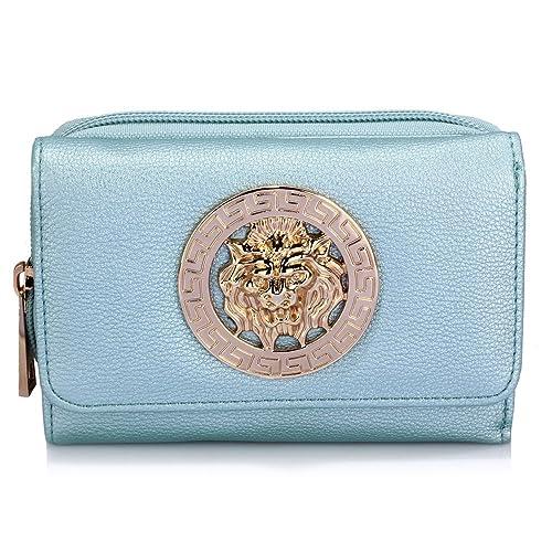 d4826c60d8 Women Medium Size Purses Ladies Wallet Luxury Designer With Card Slots and  Zip Around, Blue