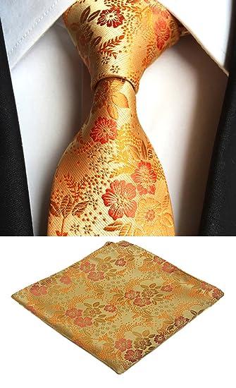 655084301c84 Amazon.com: Mens Light Orange Floral Flower Suit Tie Handky Spring Necktie  Pocket Square Set: Clothing