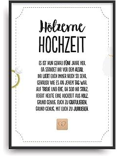 Hölzerne Hochzeit Urkunde Personalisiert Geschenk Karte Zum