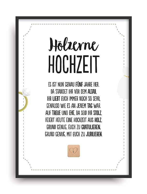 Geschenk Karte HÖLZERNE HOCHZEIT Kunstdruck 5