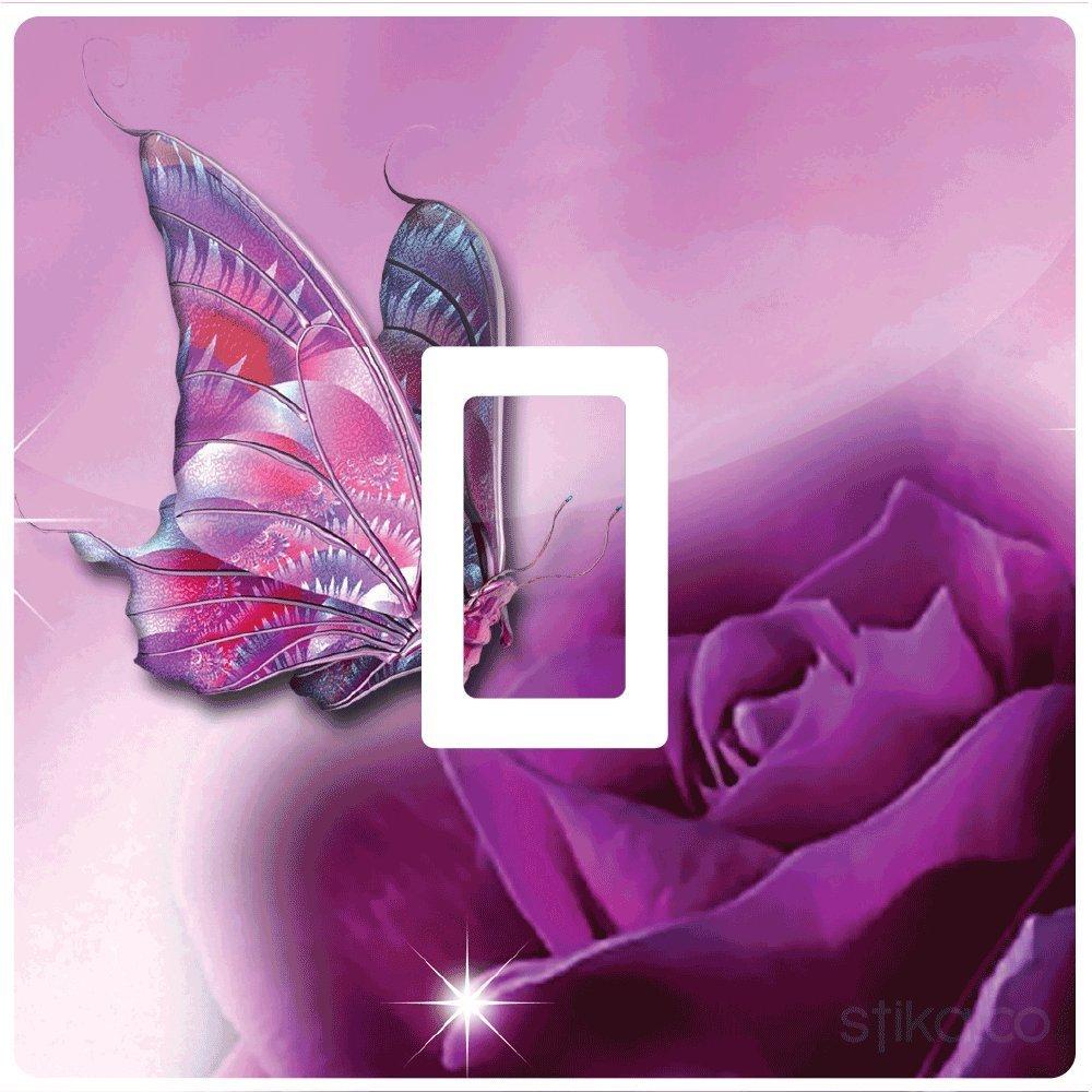 Purple Butterfly and Rose Light switch sticker vinyl by stika.co by stika.co