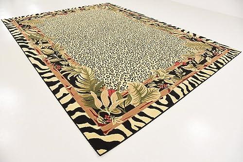 Unique Loom Wildlife Collection Cheetah Botanical Border Animal Print Cream Area Rug 9 0 x 12 0