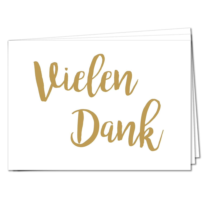 TYSK Design Postkarten Vielen Dank - 20 Postkarten Gold Karte Deko ...