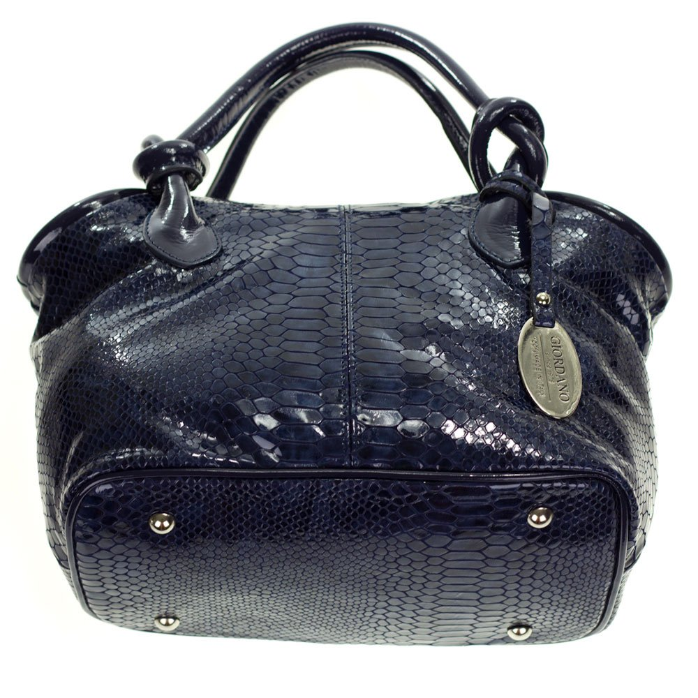 Amazon.com  Giordano Italian Made Blue Patent Leather Python Embossed  Leather Small Handbag Purse  Shoes 98e7bef2e3a9a