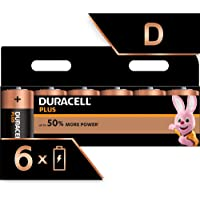 Duracell Plus D Alkaline Batteries, 1.5 V LR20 MN1300 (Packaging May Vary), Pack of 6