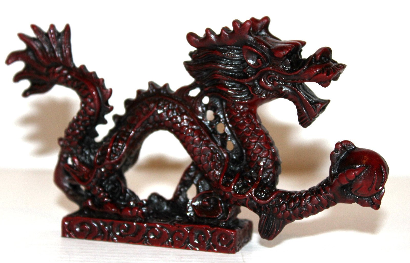 NEW RED Chinese Feng Shui Dragon Figurine Statue for Luck & Success #L