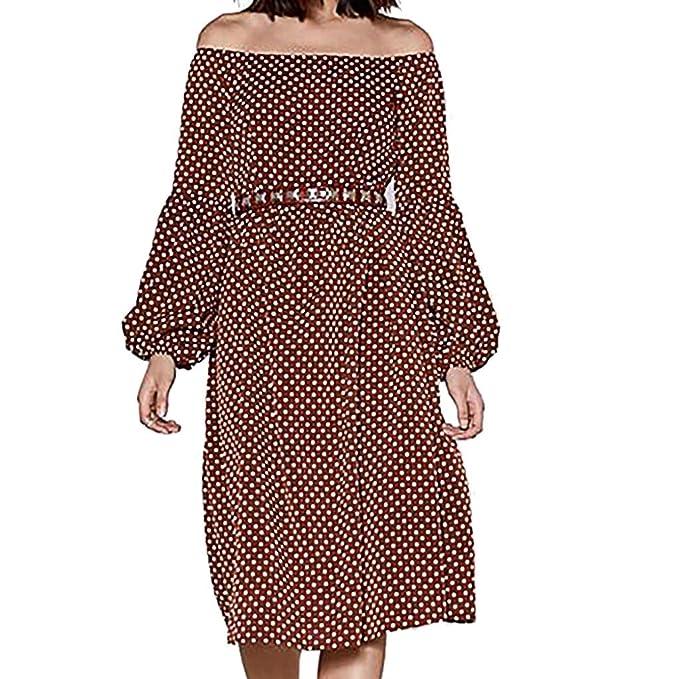 57d1ed4c47ed Women Fashion Plus Size Vintage Dot Slash Neck Off Shoulder Long Lantern  Sleeve High-Waist Loose Dress at Amazon Women's Clothing store: