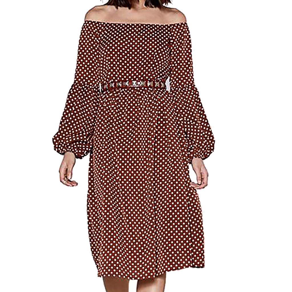 Women Plus Size Vintage Dress,Mosunx Ladies Slash Neck Long Lantern Sleeve Loose Dresses (S, Coffee)