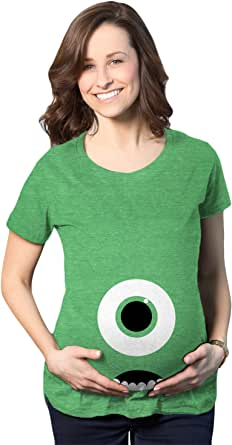 Maternity Monster Eye Ball Funny Pregnancy Tee Cute Halloween Baby Bump Tshirt (Heather Green) - M