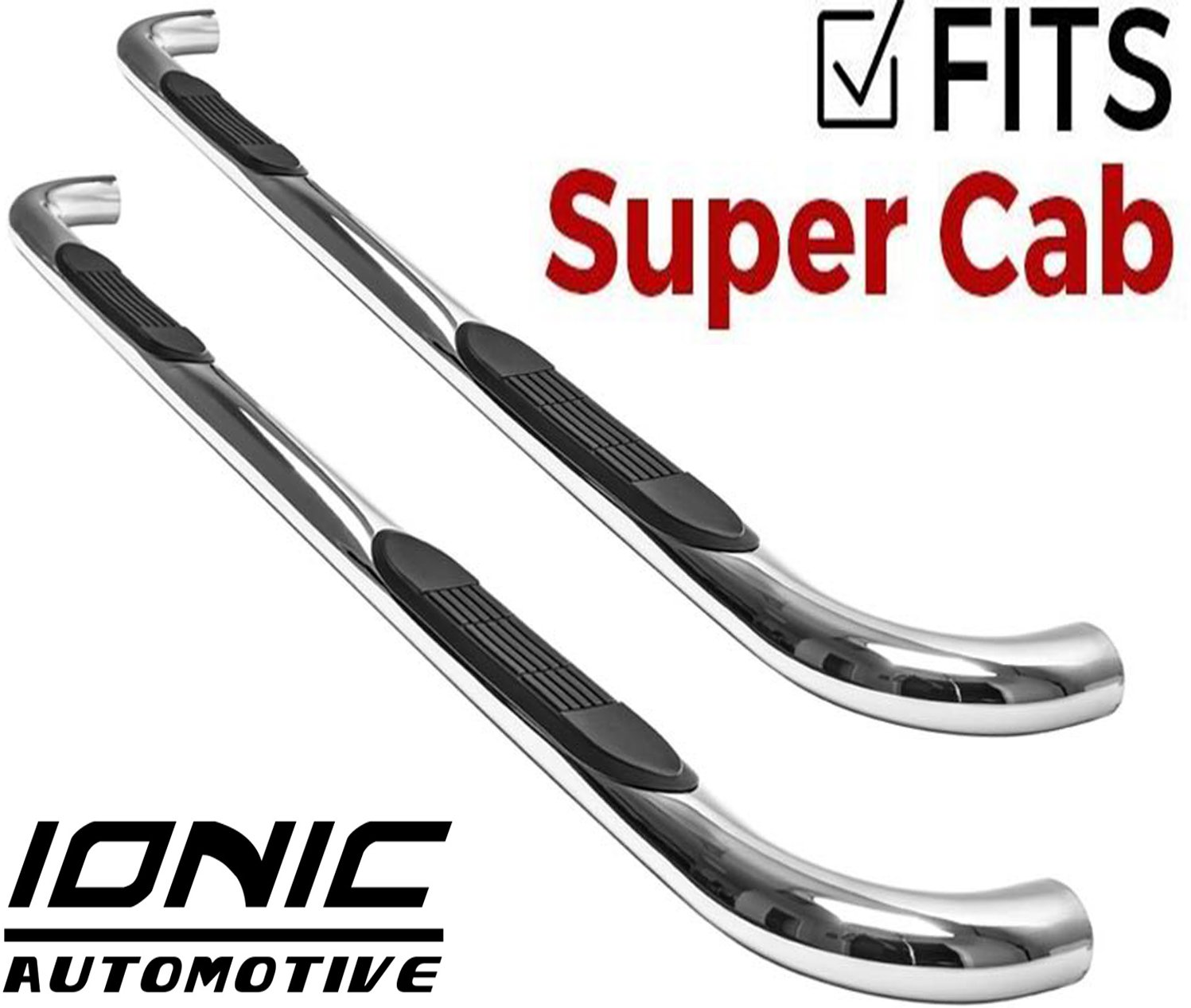 Ionic 3'' Stainless (fits) 1999-2016 Ford Super Duty F250 F350 SuperCab Only Nerf Bars Side Steps (212457)