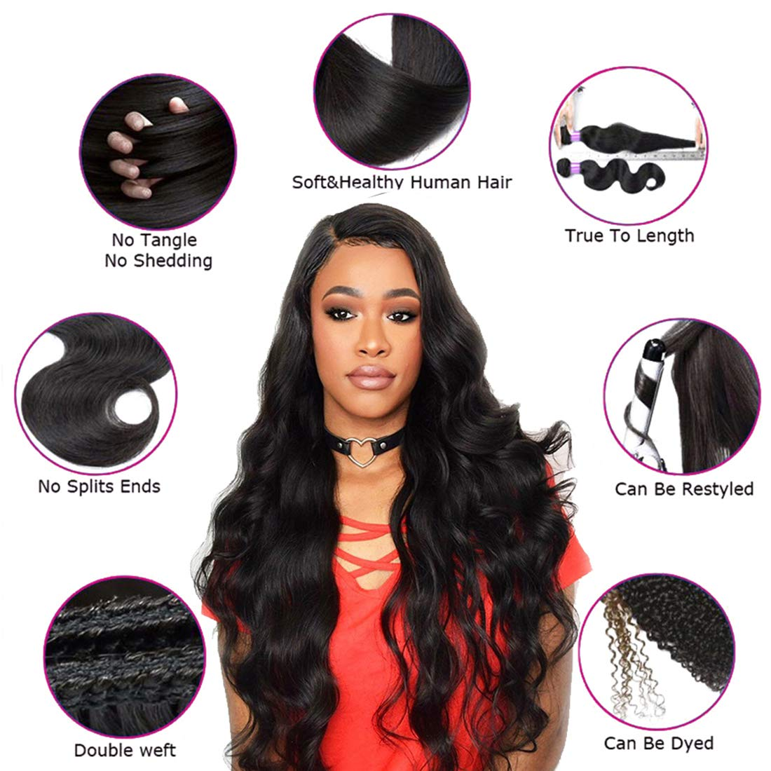 Human Hair Weaves 3/4 Bundles With Closure Practical 3 Bundles Peruvian Afro Kinky Curly With Closure Pre Plucked With Baby Hair Bouncy Curl No Shedding No Tangle Non Remy Black 1b Refreshment