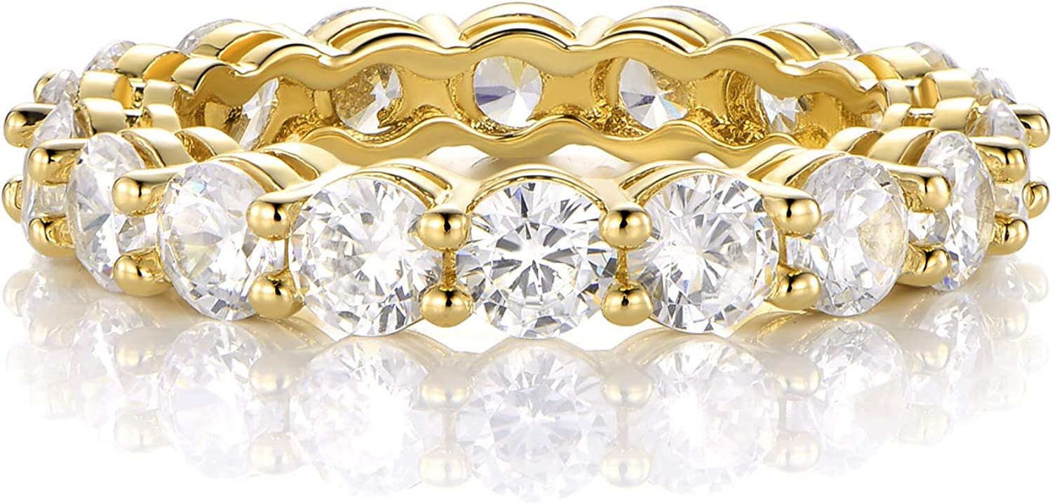 GEMSME 18K Yellow Gold Filled Cubic Zirconia Eternity Band Ring Hypoallergenic Jewelry for Women Men