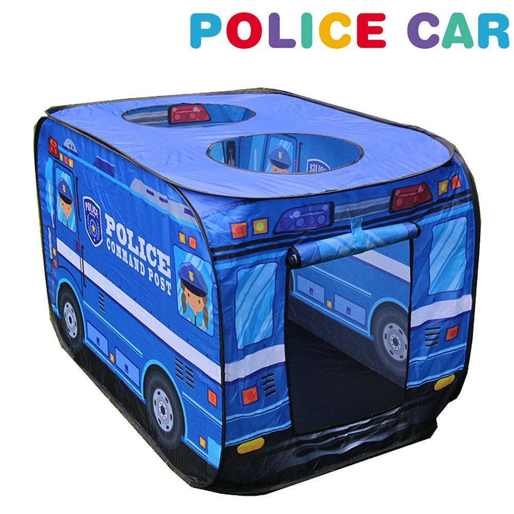 Play Tent with Police Car Design Lavieen Happy Time Play House Kids Play Tent with for Indoor Outdoor Use Instant Set Up Easy Storage
