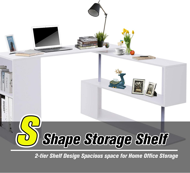HOMCOM 360 Degree Rotating Corner Desk Storage Shelf Combo Laptop Workstation Wood L Shaped Table Home Office White