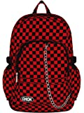 CHECKER BLACK & RED BACKPACK RUCKSACK SKATEBOARD BAG with LAPTOP PROTECTION | School College Travel Work | Check Goth Rock Emo Skate | CHOK