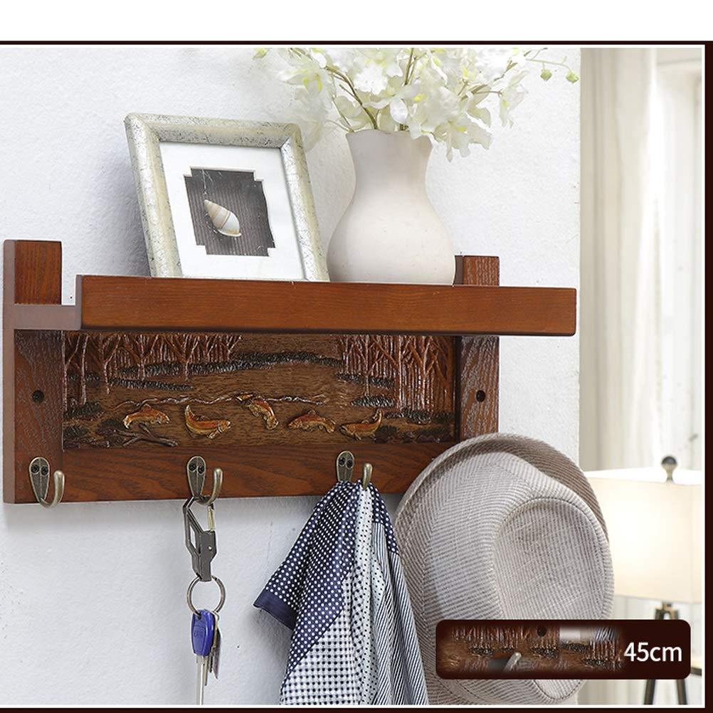 リビングルームの寝室の壁に吊り下げ戸棚壁掛け無垢材ハンガー一語間仕切り壁 (サイズ さいず : 45cm) B07MK8VQ5K  45cm