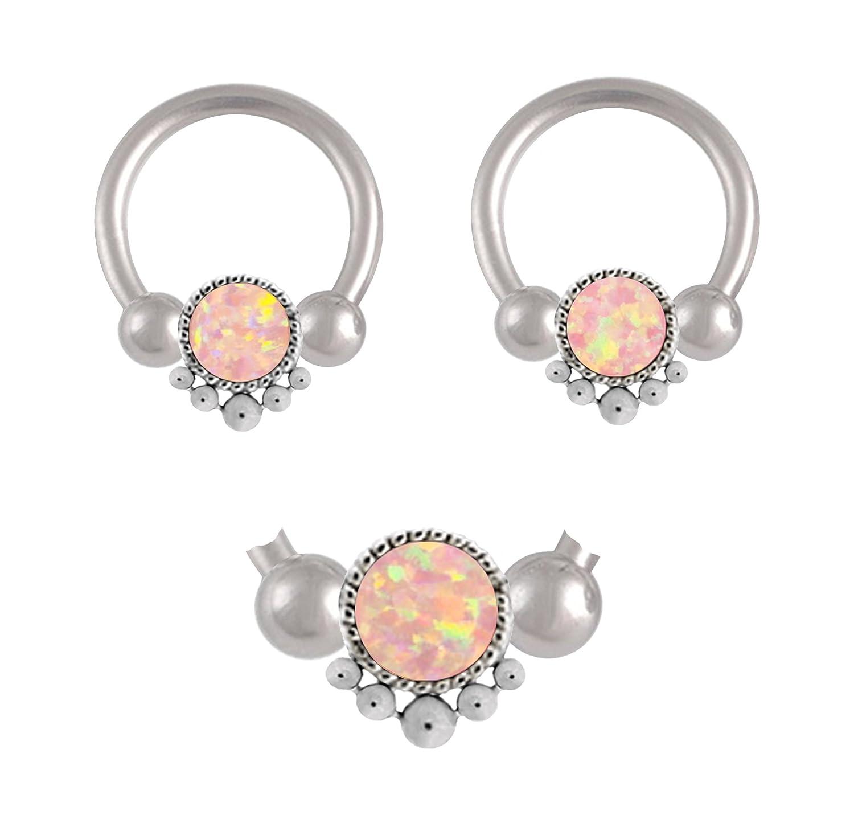 Pair of Synthetic Lt Pink angel skin fire Opal indonesian Captive Ring lip septum tragus nipple earring hoop 8g