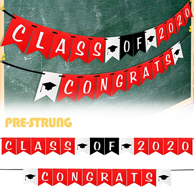 LINGPAR Class of 2020 Congrats Banner Perfect Graduation Decorations Party Supplies for Grad Party Bunting White Black Red