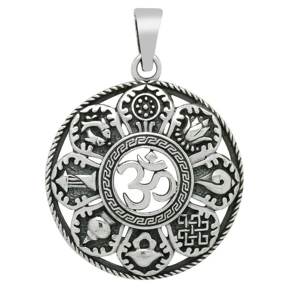 Om Anhänger Buddha mit 8 Symbolen 925 Sterling Silber Ketten-Anhänger für Damen (30mm) Steel fpm7418