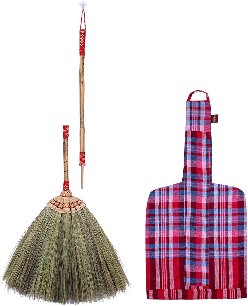 2 in 1 Natural Grass Broom Bamboo Stick Embroidered Woven Nylon Threads Handle Vintage Style Hand Grip with Papyrus & Dry Banana Leaf Size short 26