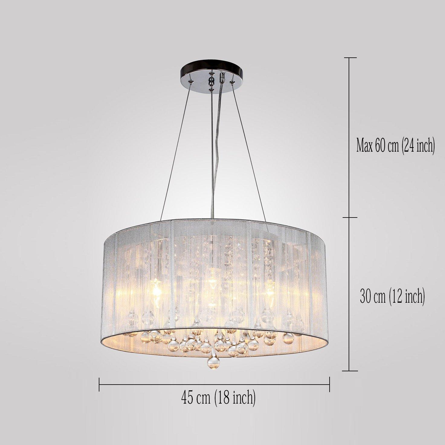 Lámpara KJLARS moderna lámpara de techo lámpara de techo lámpara de araña que cuelga cilíndrica de suspensión con pantalla de tela fuente de luz 4 ...