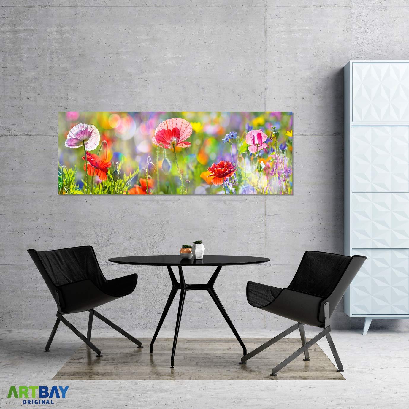 Pavots en Fleurs Panorama Photo ARTBAY Poster Fleurs HD XXL 118,8 x 42 cm Poster Nature Qualit/é Premium Pr/é de Fleurs au Soleil