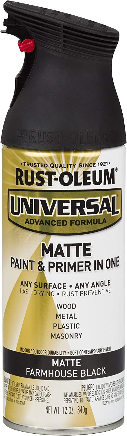 Rust-Oleum 330505 Universal Enamel Spray Paint, 12 oz, Matte Farmhouse Black