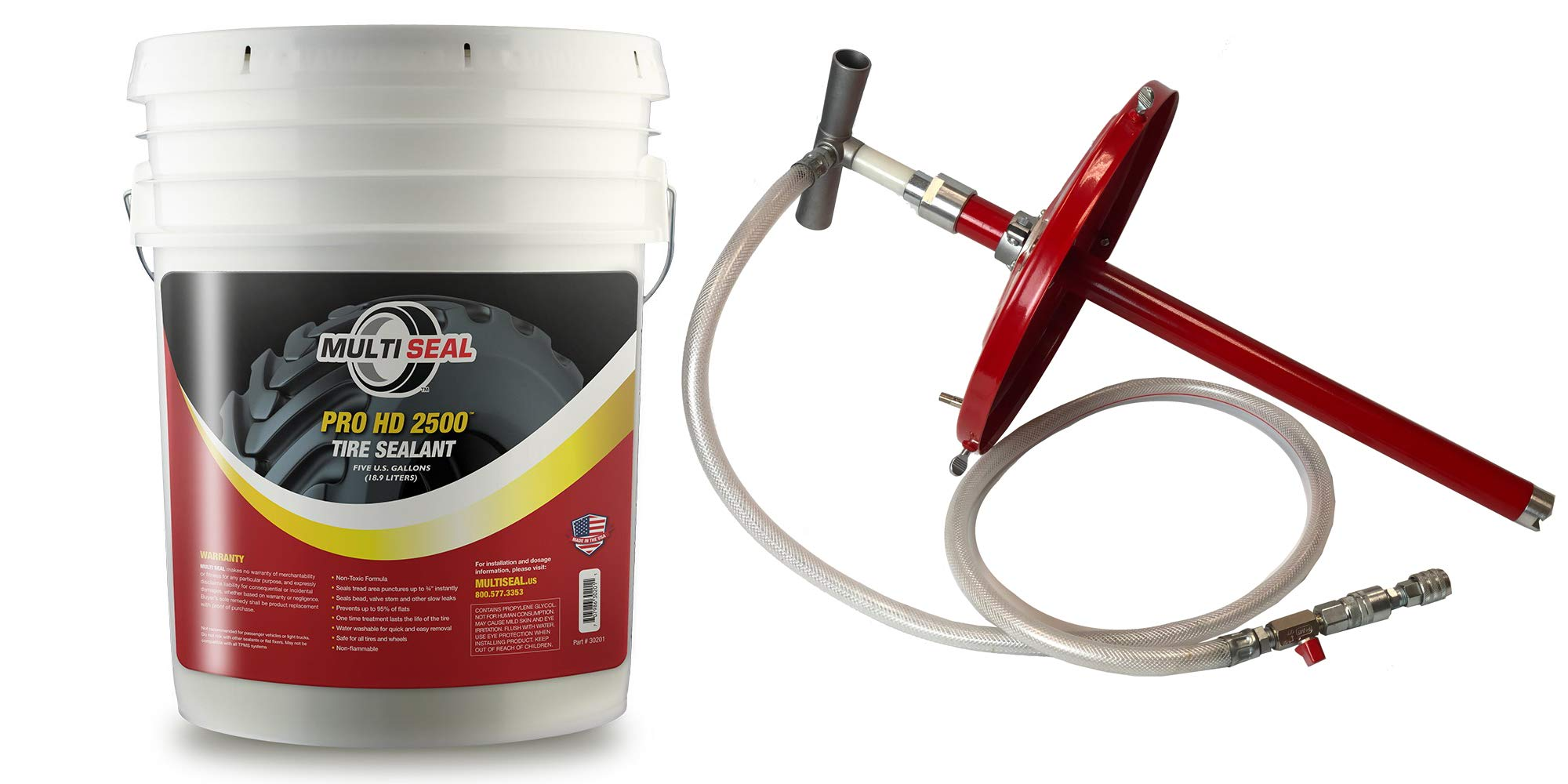MULTI SEAL PRO HD 2500 - Our Workhorse Industrial Grade Tire Sealant Designed for Heavy Industrial and Agricultural Use, 5-Gallon Pail with Pump