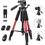 """JOILCAN 65"""" Camera Tripod, Aluminum Lightweight Phone/Tablet Stand 11 lbs Load with Universal Phone/Tablet Mount,2PC…"""