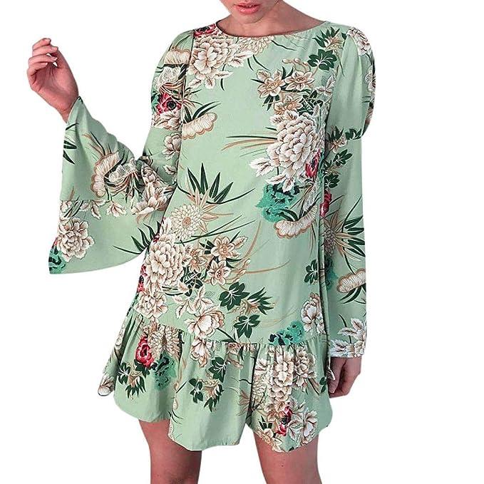 6fea4d922c1527 Forh Damen Tradition und Mode Vintage Blumenmuster Grün Kleider Loose  Langarm Mini Kleid Abendkleider Plisseekleid Rock