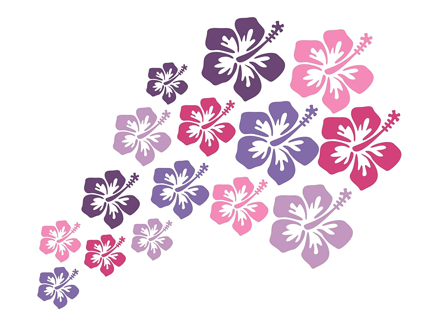 Wandtattooshop H1M5 Wall Stickers Hibiscus Flowers Colour Mix Pack of 15, 5-10cm 5-10cm wandtattooshop.eu